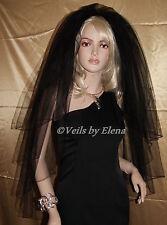 "Wedding Veil  Gothic Fingertip Costume 3 Tier 26"" 34"" 38"" Length Pencil Edge"