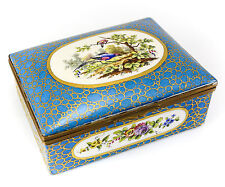 Handpainted Porcelain and Gilt Bronze Jewelry Box Sevres - Features Pheasant s
