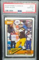 Josh Allen 2018 Classics RC Rookie Card # 207 Graded PSA Gem Mint 10 POP 14