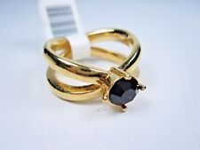 Swarovski Crystals - Size 6 0942 Nina Ricci Gold Plated Ring with Jet