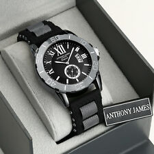 ANTHONY JAMES OF LONDON EMPEROR RUBBER STRAP BLACK SPORTS MENS WRIST WATCH