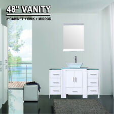 """48"""" White Bathroom Vanity Cabinet Sink Combo Glass Top w/ Mirror Faucet Drain"""
