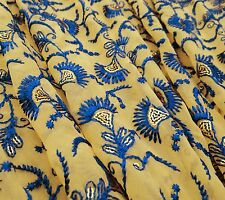 """Georgette Designer Fabric Beige Embroidered Drape 45"""" Wide By The Yard FBD92A"""