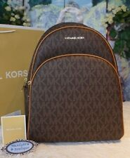 NWT MICHAEL KORS ABBEY LARGE Backpack MK Signature BROWN/ACORN PVC/Leather $398
