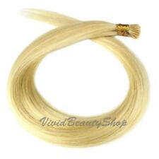 100 Stick Tip I Glue Straight Remy Human Hair Extensions Platinum Blonde #613