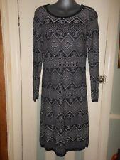 NWT fine knit navy blue & cream cotton jumper dress UK medium Monsoon