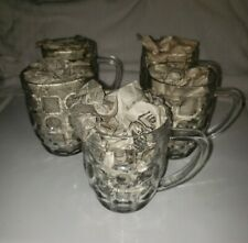 Set of 5 12oz Clear Coffee/Latte/Tea Glass Mugs with Handle, Pattern Cups