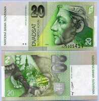 SLOVAKIA 20 KORUN 1999 P 20 d UNC