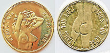 Heads I win Sexy Coin Medal Brass Token Adults Only 18+ Topless Pin Up Gold Lust