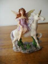 "Fairy Angel in purple dress sitting on a Unicorn 5"" tall"