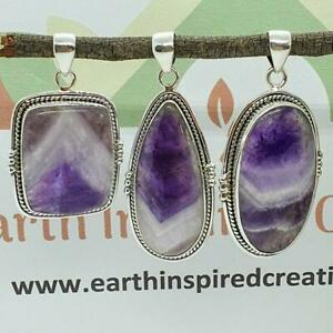 Chevron Amethyst and Solid Sterling Silver Pendant