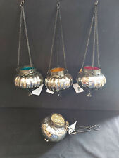 HANGING SILVER CRACKLE GLASS LANTERN WITH TINY BELLS FROM NORTH INDIA