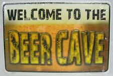 Welcome to the BEER Cave Metal Sign Garage Man Cave Game Room Bar Billiard Decor