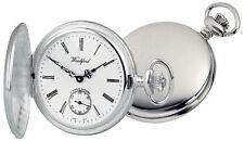 Full Hunter Pocket Watch Sterling Silver Swiss 17 Jewel Mechanical Woodford 1064