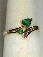 SOLID      14K  Gold   EMERALD    Diamond   Fashion  Ring
