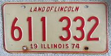 Illinois 1974 License Plate # 611 332
