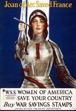 1918 Juana de Arco salvó Francia sellos de ahorro de guerra nos compre cartel de impresión de guerra
