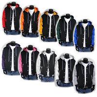 New Varsity Letterman Hoodie Baseball Jacket XS S M L XL 2XL 3XL 4XL Black Plain