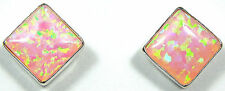 6mm Pink Fire Opal 925 Sterling Silver Stud Post Earrings - Handcrafted in USA