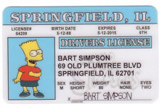 The Simpsons BART SIMPSON novelty collectors card Drivers License