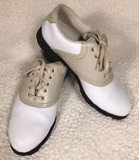 Etonic Lites Ladies Golf Shoes White / Putty Beige Saddle 8 M 008902-A6