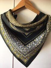 Odile St Germain Paris Silk Scarf - Geometric Black And Gold Design