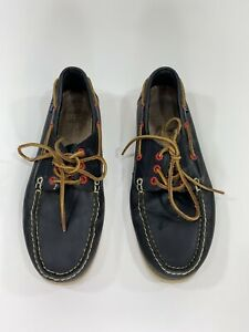 Mens Polo Ralph Lauren Boat Shoes Leather Navy Red Logo Preppy Beach Size 8.5 D