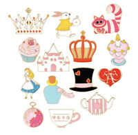 Cute Alice in Wonderland Theme Enamel Pin Badge Tea Party Mad Hatter Rabbit