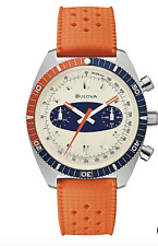 Bulova 98A254 Orange SurfBoard Chronograph A Watch 200 Meter WR Box & Papers