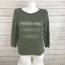 Chico's Womes 3/4 Sleeve Olive Green Knit Sweater SIze 1