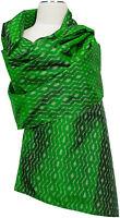 Pashmina  Ikat Schal Seide Handgewebt scarf silk handwoven Green Grün