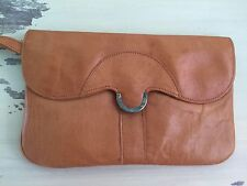 VINTAGE LEATHER CLUTCH - 60s-70s Tan Light Brown Hand Bag Purse, Estate Sale