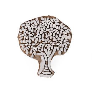 Tree Indian Wood Block Art Stamps Handcarved Printing Block Textile Stamp Brown