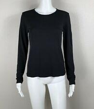 EILEEN FISHER Silk Stretch Jersey Black Long-Sleeve Top Blouse Shirt XS - NTSF