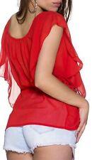 Sexy Damen Chiffon Bluse Shirt kurzer Volant Arm Ketten Gürtel 34/36/38 TOP NEU
