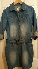 NEW YMI BELTED LONG SLEEVE DENIM DRESS JUNIORS SIZE M