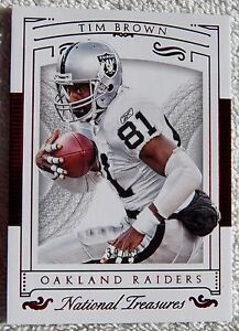 2015 National Treasures Tim Brown Jersey Numbers Red Card #/81 Qty