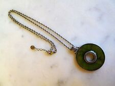 Artist Signed Lariat Silver Tone Necklace with Green Iridescent Disk Pendant
