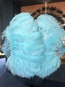 A pair aqua single layer Ostrich Feather Fan Burlesque set of 2 fans