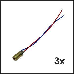 3x Laserdiode Rot 5mW 650nm 5V 6mm Punktlaser Laser Diode Modul Arduino