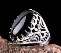 Turkish 925 Sterling Silver Nicely black onyx stone mens man ring ALL SİZE us
