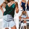 Spaghetti Strap Top Women Halter V Neck Cami Satin Silk Tank Tops Women Summer