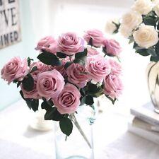 10 Head Artificial Rose Silk Flower Bouquet Bridal Fake Wedding Party Home Decor