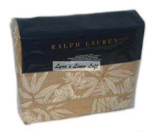 RALPH LAUREN Haluna Bay Floral Tan Cream FULL/ QUEEN DUVET COMFORTER COVER $285