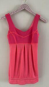 Lululemon Run Tame Me Tank Flash Neon Pink Built In Bra Drawstring Size 4