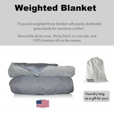 Weighted Blanket Sensory Anxiety 15 lbs w/cooling bamboo & soft washable cover