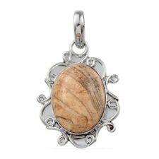 Artisan Crafted Oval Picture Jasper Pendant - Silvertone - Pendant only NO Chain