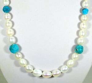 JAY KING STERLING SILVER FRESHWATER PEARL AND TURQUOISE NECKLACE - RETAIL $126