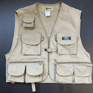VTG L L Bean Fly Fishing Vest Mens M Medium Khaki Camping 19 Pockets!