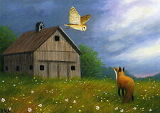 Barn owl red fox barn meadow stormy sky limited edition aceo print of painting